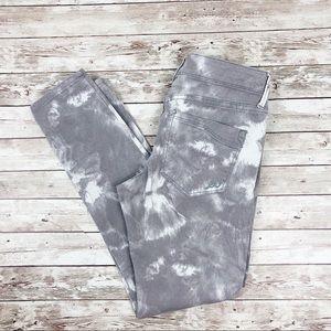 Express gray white tie dye skinny ankle jeans 2